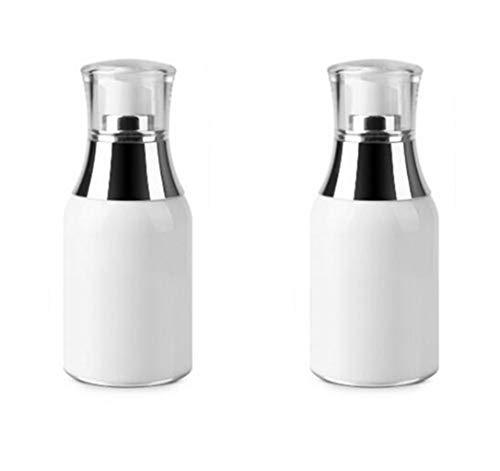 Upstore 2 pcs Acrylique Blanc Airless Pompe à vide pour bouteilles bocaux Maquillage Crème contour des yeux Lotion Émulsion produits de toilette liquide de stockage de conteneurs, blanc, 50ml/1.7oz