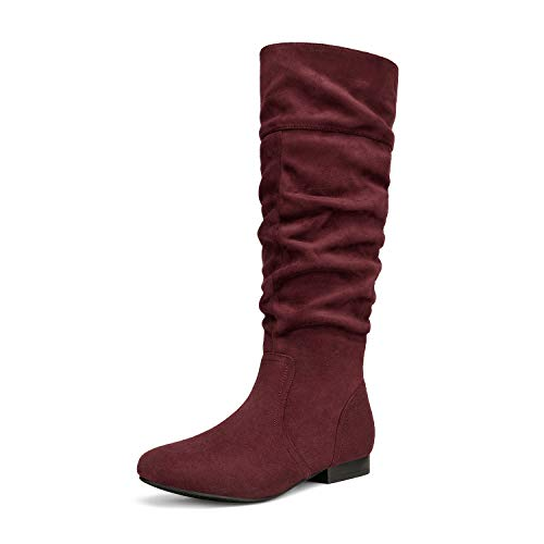 DREAM PAIRS Women's BLVD Burgundy Knee High Pull On Fall Weather Boots Size 9 M US