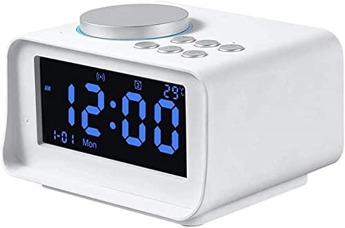 DFGBXCAW Reloj Despertador Digital con Altavoz Bluetooth, Reloj Despertador de Escritorio con Altavoz Bluetooth y Pantalla LED con Memoria, Temperatura de la batería, Reloj Despertador de cabecera,