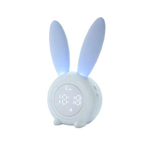 ZYCX123 Silenciar la Historieta del Conejo Despertador Wake Forma hasta el Despertador Ligero del alumno Inteligente LED del sueño del pequeño Despertador Recuerdos Azul