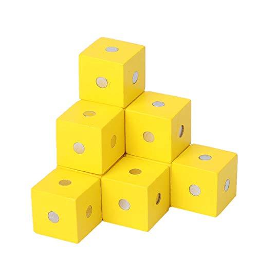 Tancyechy Bloques de construcción magnéticos Cubo Juguetes de Madera para niños Bloques de construcción Bloques de construcción magnéticos Amarillo