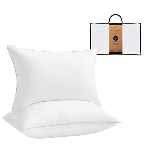 MF International White Pillow Inserts Quality | 144 Thread Count 100% Cotton Cover | Hypoallergenic Pack of 2 | Pillow Pad Inner Stuffer With Ball Fiber Filling