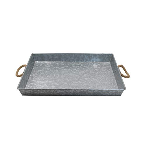 Galvanized Metal Rectangular Serving Tray for Home Office Party Wedding Spa Serving - Jumbo Serving Tray Display Perfect for Rustic Vintage Decoration in Kitchen Dining Room