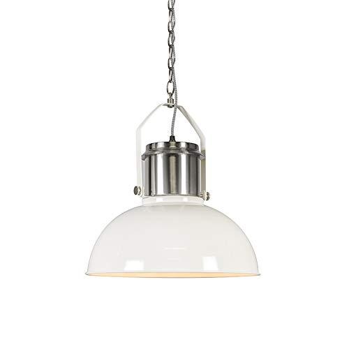 QAZQA Design/Industrie/Industrial/Modern Industrielle Hängelampe weiß - Industrie 37 / Innenbeleuchtung/Wohnzimmerlampe/Küche Stahl Rund LED geeignet E27 Max. 1 x 40 Watt