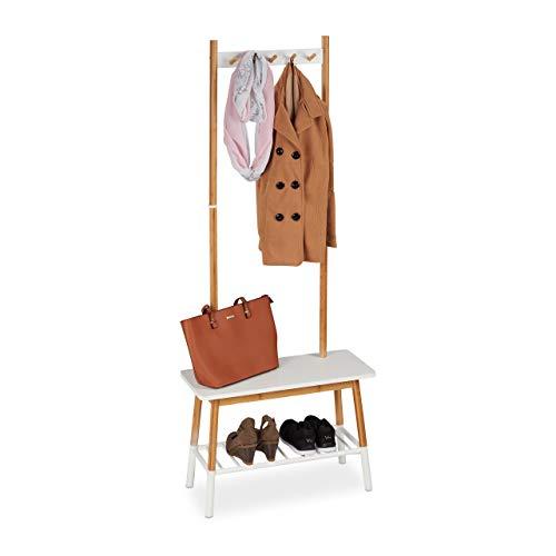 Relaxdays Perchero Pie, Banco Zapatero, Colgador Ropa, Mueble Recibidor, Bambú-DM, 1 Ud, 170 x 70 x 30 cm, Blanco-Marrón