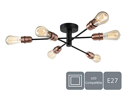 HARPER LIVING plafondlamp, zwart met koperen afwerking, 6 Ceiling Light