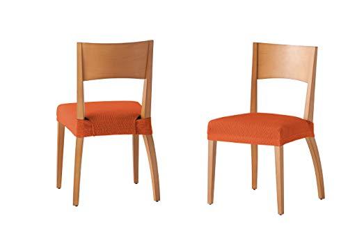 Martina Home Tunez - Funda para Silla, Tela, Funda silla asiento, Naranja, 24 x 30 x 6 cm, 2 Unidades