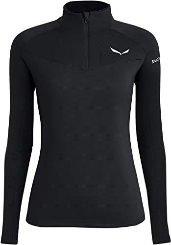 Salewa Damen SENNES Dry W L/S HZ Tee Blusen & T-Shirts, Black Out, 46/40