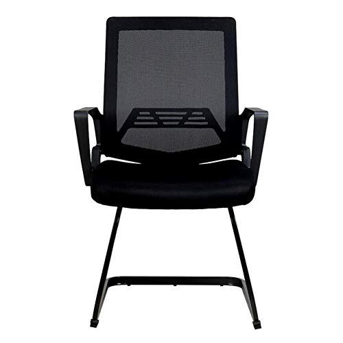 Jieer-C vrijetijdsstoelen, bureaustoel, vergaderstoel, ergonomisch, gebogen vorm, ademend, basis van staal, bureaustoel, belastbaar tot 150 kg, robuust Zwart