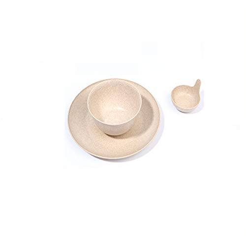 EgBert 3Psc/Set Bowl Plate Suit Rice Bowl Platte Spice Plate Premium Wheat Straw Cookware - Beige