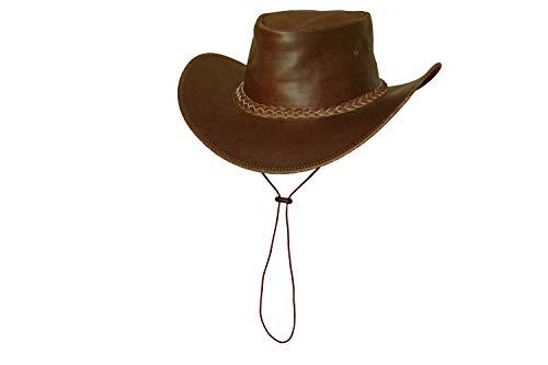 Black Jungle Broome Chapeau Enfants Chapeau en Cuir Westernhat Chapeau de Cowboy Chapeau Australien Cuir véritable (Marron, XS)