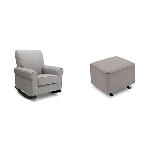 Delta Furniture Rowen Rocking Chair and Gliding Ottoman with Soft Grey Welt, Dove Grey