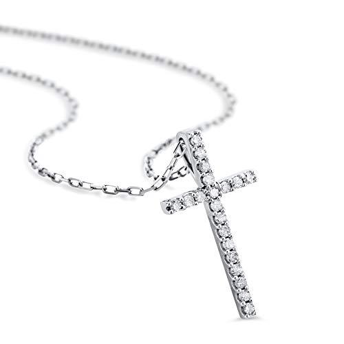 Orovi Kette - Halskette Damen Kette mit Kreuz Weißgold 9 Karat / 375 Gold Diamant Brillianten 0,1 ct 45 cm