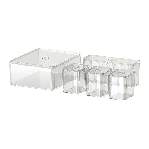 IKEA GODMORGON Kästen mit Deckel transparent; 5 Stück
