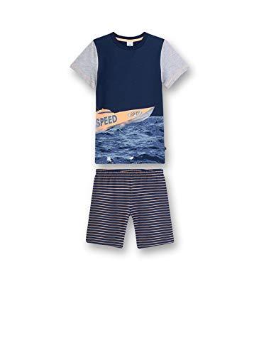 Sanetta Jungen Pyjama kurz Zweiteiliger Schlafanzug, Blau (blau 5193), (Herstellergröße:128)