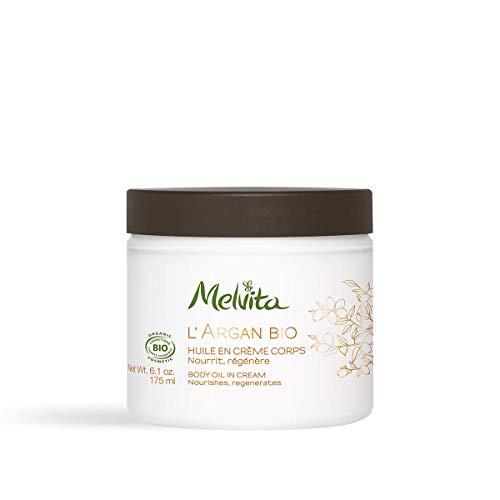 Melvita - Crème Corps Certifiée Bio Argan - Crème Naturelle à 99% - Nourrit et Régénère la Peau - La Douceur d'une Crème, la Nutrition de l'Huile d'Argan - Pot 175 ml