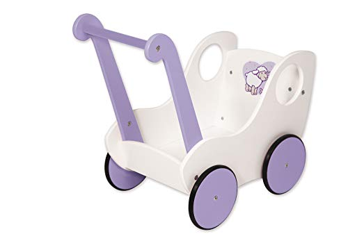 Bayer Design 52102AB Loopleerwagen, duwwagen, houten poppenwagen, Princess World, wit, lila