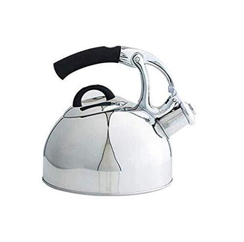 GJJSZ Kettle Edelstahl Whistling Kettle 2.5L Gas Niture Induktionsherd Gas Universal Kettle,Silber,2.5L
