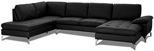 Ibbe Design U Form Ecksofa Schwarz Leder Couch Wohnzimmer Polstermöbel Rechts Sofa Bolette mit Metall Beine, 320x260x100x84 cm