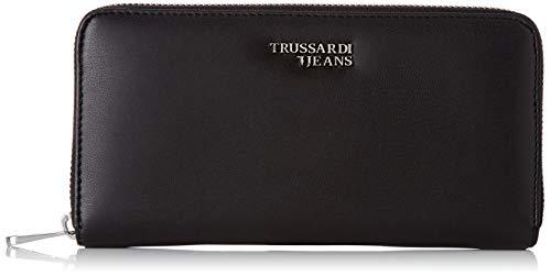 Trussardi Jeans Soft Stripes Zip 3 Pkt LG Ecol, Portafoglio Donna, Nero (Black), 2x11x20 cm (W x H x L)