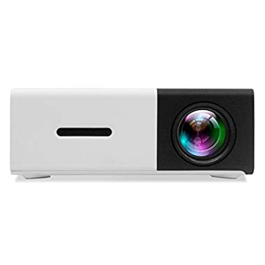 DeepLee DP300 Mini Projector, Portable LED Projector Home Cinema Theater with PC Laptop USB/SD/AV/HDMI Pocket Projector for Video Movie Game Home Entertainment Projector - Black