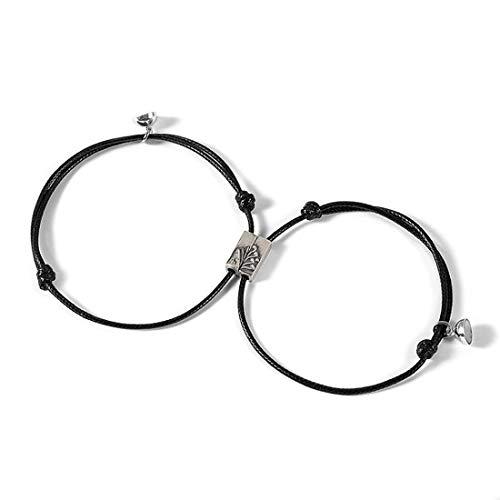 Jespeker 2 uds conjunto de pulsera de pareja para mujer infinito amor pulsera emparejada acoplamiento magnético pulsera de cadena hombres joyería de moda