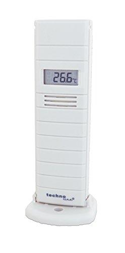Technoline, mit Außensender, TX29 DTH-IT, Temperatur- und Luftfeuchtesender mit Display, 868 MHz, weiß, 38 x 21 x 129 mm