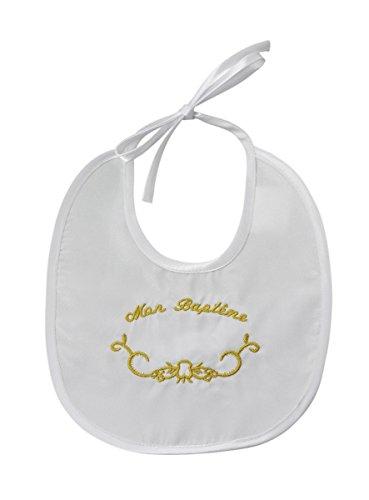 Boutique-Magique - Babero bordado con texto 'Mon Baptme' dorado Talla única