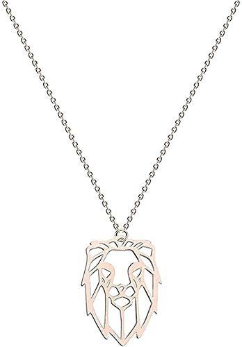 YOUZYHG co.,ltd Collar Collar Collar de Acero Inoxidable para Mujer Collar de Luna Creciente Girasol Lobo León Paloma pájaro Amor Colgante Collar joyería Regalo