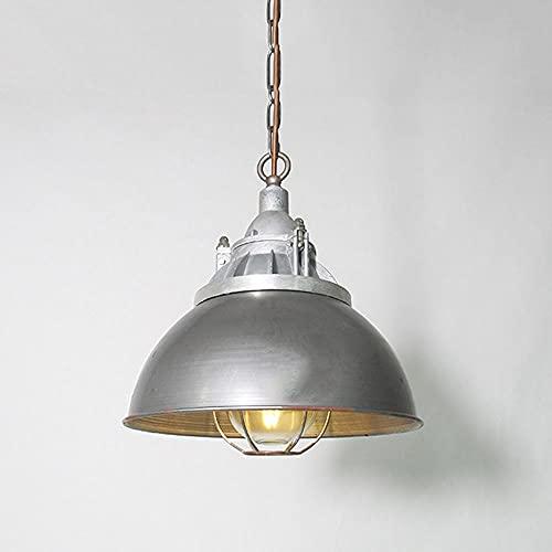 NAMFHZW American Industrial Lámpara colgante de techo grande Metal Acabado en vidrio Sombra Lámpara colgante E27 1 luz Lámpara colgante semi empotrada Luminaria ajustable en altura Bar Restaurante Caf