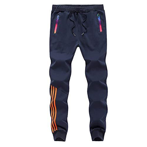 LBL Homme Pantalon Jogging Sport Pantalon Slim de Cordon de Serrage Bleu 2XL