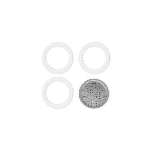 Bialetti Dichtung und Bodenplatte für Moke und Kaffee 6 Tassen Aluminium