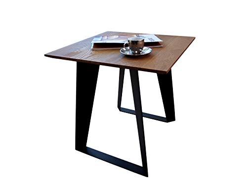 Lumarc Asiago, Tavolino da Salotto e Side Table in Legno Massello di Quercia Naturale dal Design Moderno Industriale Minimalista, Rovere, Quadrato, 50 x 50 x 50 cm