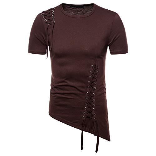 Herren Sommer T-Shirt Kurzarm Sport T-Shirts Herren Basic Tee Rundhals Long...