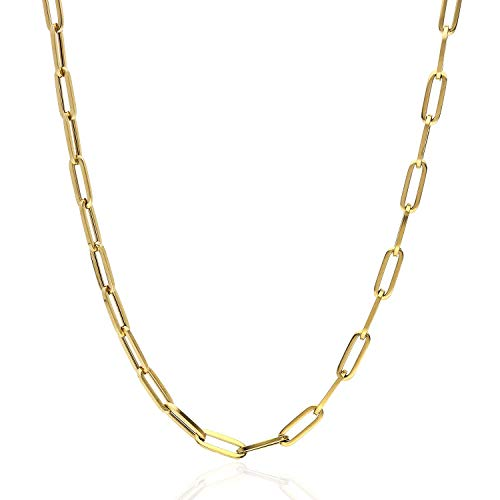 "14K Yellow Gold 4mm Paperclip Elongated Open Chain Necklace 16""-30"", 16"