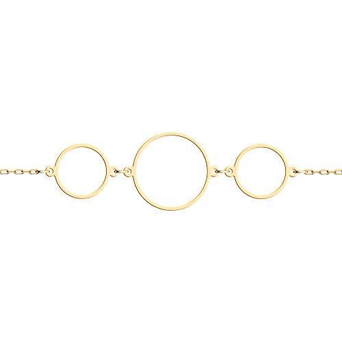 Sokolov Jewelry Bezaubernde Armkette Gold Damen 585 14 Karat mit 3 zarten Ringen I Exklusiver Designer Markenschmuck Damen-Schmuck I Armreif Gold schlicht I Goldarmband für Kinder (17)