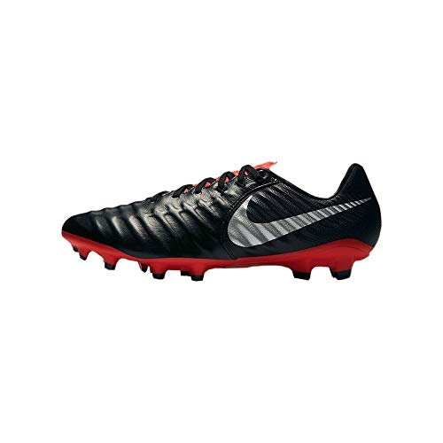 Nike Men's Tiempo Legend 7 Pro FG Cleats (Black/Metallic Silver/Light Crimson) (7)