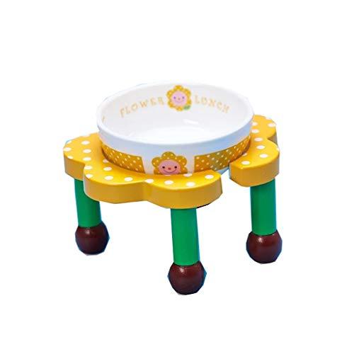 WangQ Pet Flower Bowl, rutschfeste Hundefutter Rack Esstisch Hundenapf mit Regal Keramik High Bowl Dish Teddy Futternapf Cat Bowl Hundenapf (Color : A)