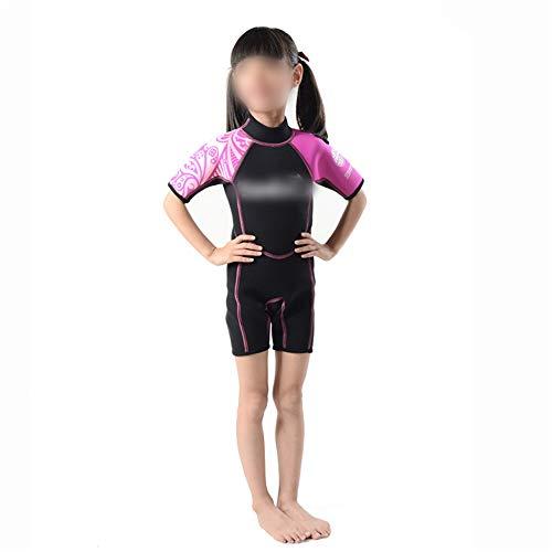 BERYLSHOP Shorty Neoprenanzug Kinder Neoprenanzug Sonnenschutz Einteiliger Badeanzug for Kinder Kurzärmeliger Schwimm-Tauchanzug for Kinder 2 mm Warmer Schnorchel-Badeanzug