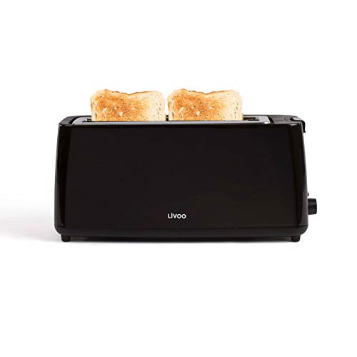 Toaster Langschlitz Schwarz Langschlitztoaster Regelbarer Thermostat (Breiter Schlitz, 800 Watt, Bagel, Krümelschublade)