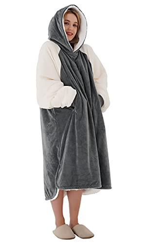Winthome Übergroße Hoodie Decke, Sherpa Sweatshirt Decke, Kuschelpullover Für Damen Herren Erwachsene (Grau/Creme, M)
