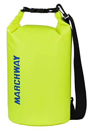 MARCHWAY Floating Waterproof Dry Bag 5L/10L/20L/30L, Roll Top Sack Keeps Gear Dry for Kayaking, Rafting, Boating, Swimming, Camping, Hiking, Beach, Fishing (Bright Yellow, 20L)