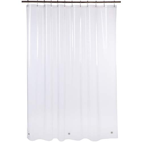 Amazer Shower Curtain Liner, 72 x 84 Inches EVA 5G Bathroom Plastic Shower Curtain with 3 Magnets and 12 Grommet Holes-Clear