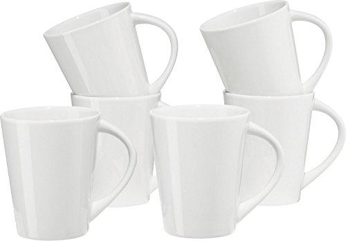 Gepolana Kaffeebecher, Kaffeetasse 6er-Pack Porzellan weiß, Größe 400 ml - spülmaschinenfest, mikrowellengeeignet