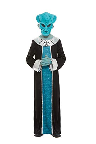 Smiffys 51019M - Disfraz de Alien para niños (talla M, 7-9 años), color azul
