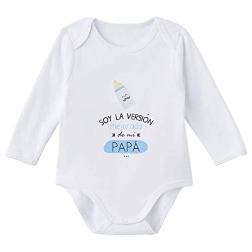 SUPERMOLON Body bebé manga larga Soy la versión mejorada de mi papá Blanco algodón para bebé 0-3 meses