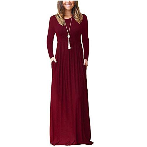 ZNYSTAR Sommer Kleider Damen Casual Lange Kleider mit Taschen T-Shirt Kleid Elegant Solid Color Plissee Lose Strand langes Kleid (S, Weinrot-Langer Ärmel)