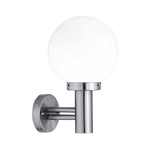 Wandlampe, IP 44, spritzwassergeschützt, Außenlampe, LED fähig, Edelstahl, exklusiv Leuchtmittel, E27-Fassung max. 60 Watt