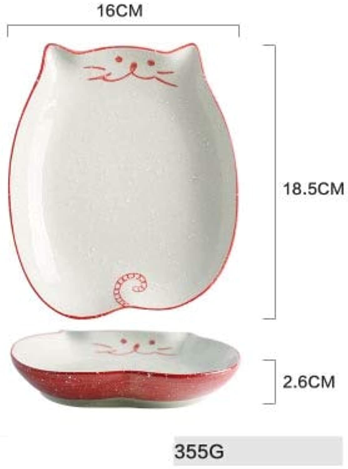 1 PC KINGLANG Ceramic Porcelain Creative Cute Cat Shaped Plate Dish Dinner Bowl Spoon Plates Kitchen Tableware   7.75 inch Plate