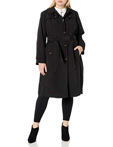 LONDON FOG Women's Single Breasted Belted Trench with Hood, Black, 2X